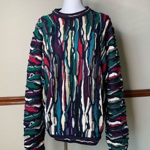 Coogi Navy multi color knitted Sweater size large